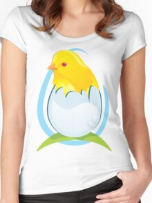 chicken in egg Women's Fitted Scoop T-Shirt