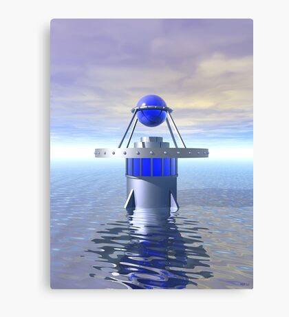 Blue Sci Fi Structure Canvas Print