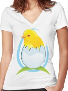 cute colored chicken Women's Fitted V-Neck T-Shirt