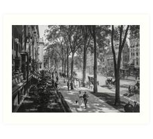 Broadway in Saratoga Springs, New York, ca 1915 (full size) Black & White version Art Print