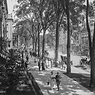 Broadway in Saratoga Springs, New York, ca 1915 (full size) Black & White version by Sanna Dullaway