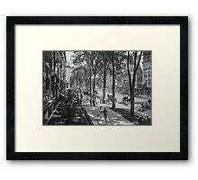 Broadway in Saratoga Springs, New York, ca 1915 (full size) Black & White version Framed Print