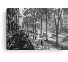Broadway in Saratoga Springs, New York, ca 1915 (full size) Black & White version Metal Print