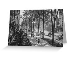 Broadway in Saratoga Springs, New York, ca 1915 (full size) Black & White version Greeting Card