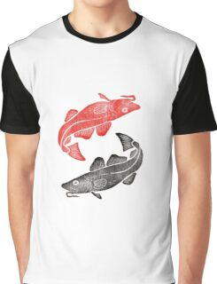 Linocut Fishes Graphic T-Shirt