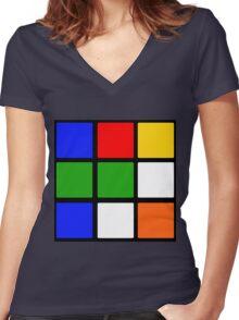 Rubik's Cube Design Women's Fitted V-Neck T-Shirt
