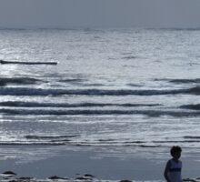 morning beach walk on a grey day - lone dhow Sticker