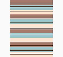 Stripey Design Browns Blue Cream & White Unisex T-Shirt