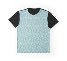 Assorted Leaf Silhouette Pattern Teals Graphic T-Shirt