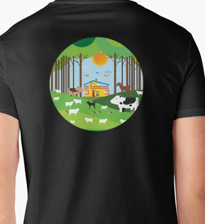 Farm in the forest Mens V-Neck T-Shirt