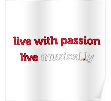 I love music t-shirt, Live with passion live musical.ly Poster