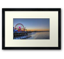 Sunrise at the pier Santa Monica, California The Ferris wheel in the background  Framed Print