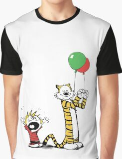 Calvin And Hobbes Balloon Fight Graphic T-Shirt
