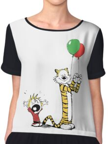 Calvin And Hobbes Balloon Fight Chiffon Top