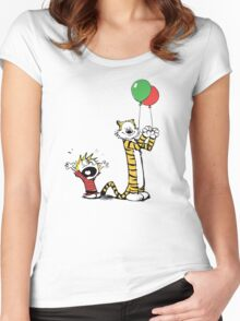 Calvin And Hobbes Balloon Fight Women's Fitted Scoop T-Shirt
