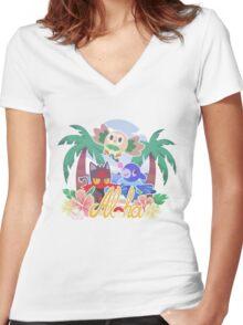 Pokemon Sun & Moon - Aloha Women's Fitted V-Neck T-Shirt