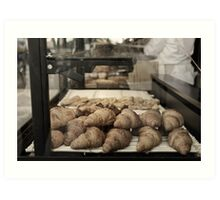 French croissants displayed in Paris bakery window. Art Print