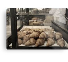 French croissants displayed in Paris bakery window. Metal Print