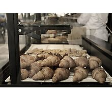 French croissants displayed in Paris bakery window. Photographic Print