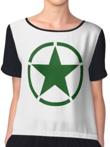 ARMY, Army Star & Circle, Roundel, Jeep, War, WWII, America, American, USA, in GREEN Chiffon Top