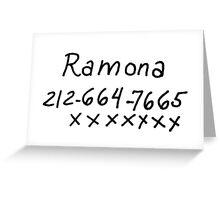 Scott Pilgrim - Ramona Flowers Phone Number Greeting Card