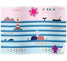 Whales Kiss Poster