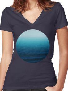 Deep Blue Women's Fitted V-Neck T-Shirt