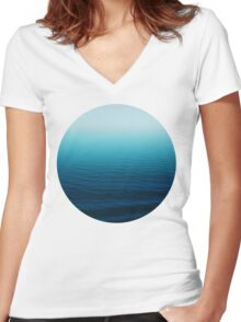 Deep Blue Women's Fitted V-Neck T-Shirt