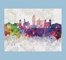 San Antonio skyline in watercolor background Kids Tee
