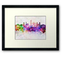 San Antonio skyline in watercolor background Framed Print