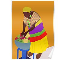 woman and a bowl of fruit  Poster