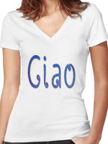 Ciao Italian Word Women's Fitted V-Neck T-Shirt