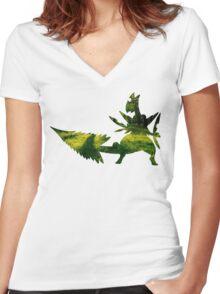 Mega Sceptile used Leaf Storm Women's Fitted V-Neck T-Shirt