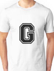 """Letter """"G""""  - Varsity / Collegiate Font - Black Print Unisex T-Shirt"""