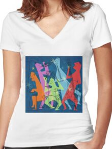 Abstract Jazz Women's Fitted V-Neck T-Shirt