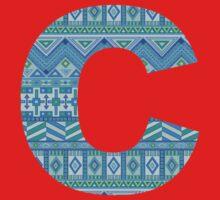 Letter C Blue Aztec Stripes Pattern Boho Monogram Initial One Piece - Short Sleeve
