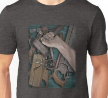 vintage woodworking tools on wooden bench Unisex T-Shirt