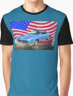 1967 Buick Riviera With United States Flag Graphic T-Shirt