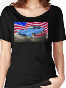 1967 Buick Riviera With United States Flag Women's Relaxed Fit T-Shirt
