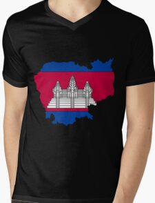 Cambodia Map With Cambodian Flag Mens V-Neck T-Shirt