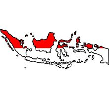 Indonesia Map With Indonesian Flag Photographic Print