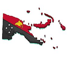 Papua New Guinea Map With Flag Photographic Print