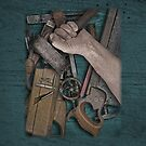 vintage woodworking tools on wooden bench by Val Goretsky