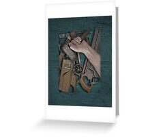 vintage woodworking tools on wooden bench Greeting Card