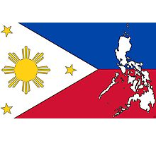 Philippines Map With Philippine Flag Photographic Print