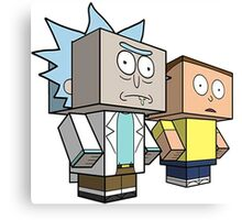 rick and morty meet minecraft Canvas Print