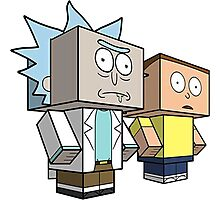 rick and morty meet minecraft Photographic Print