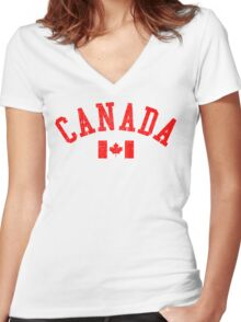 Canada Flag Vintage Women's Fitted V-Neck T-Shirt