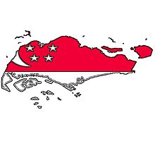 Singapore Map With Flag Photographic Print