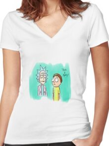 rick and morty Painting Women's Fitted V-Neck T-Shirt